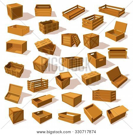 Set Of Isolated Isometric Wood Boxes Or Wooden Transporting Package. Closeup Or Mockup Of Lumber Pac