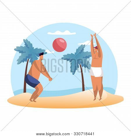 Cartoon People Playing Summer Volleyball On Beach. Man Playing Hand Ball Sport. Summertime Hobby. Vo