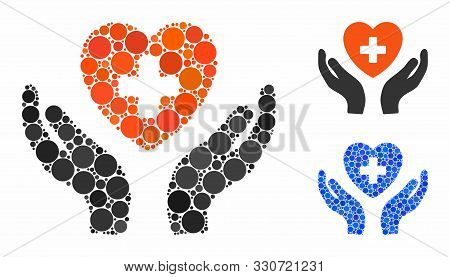 Cardiology Care Hands Mosaic Of Small Circles In Various Sizes And Color Hues, Based On Cardiology C