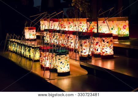 Rows Of Lit Handmade Paper Lanterns In Church Crafted By Kids For Celebration Of Saint Martins Day O