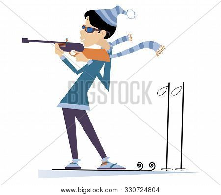 Biathlon Competitor Young Woman Isolated. Shooting In The Stand Position Biathlon Competitor Woman C
