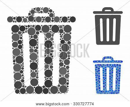 Dustbin Mosaic Of Filled Circles In Different Sizes And Color Tints, Based On Dustbin Icon. Vector F