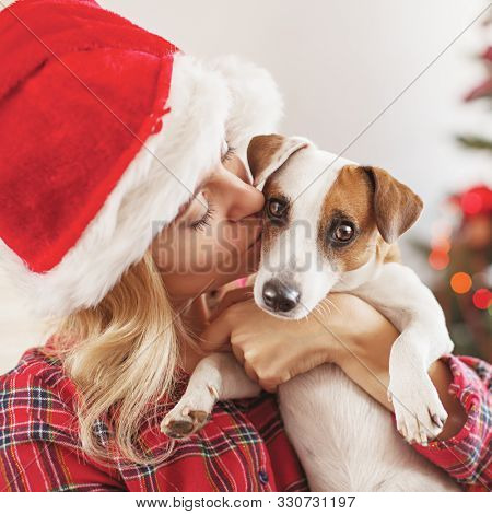 Happy woman with dog in christmas decoration. Female with pet at home