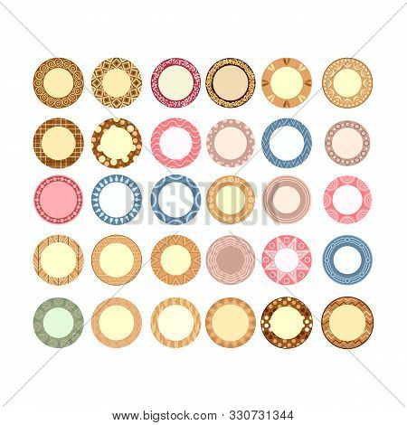 Large Set Of Table Plates With A Decorative Pattern And Motif, Top View Vector Illustration