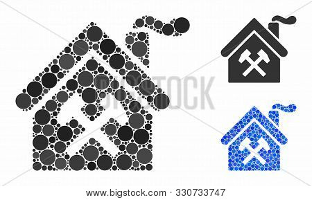 Forge Building Mosaic Of Round Dots In Various Sizes And Shades, Based On Forge Building Icon. Vecto