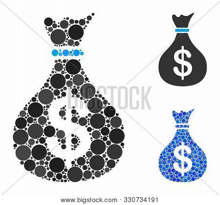Fund Mosaic Of Filled Circles In Various Sizes And Color Hues, Based On Fund Icon. Vector Random Cir