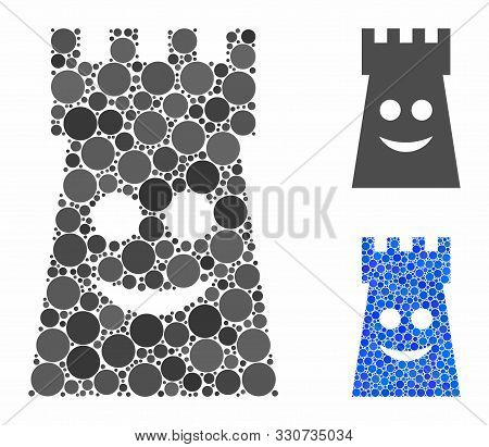 Glad Fort Tower Mosaic Of Round Dots In Various Sizes And Shades, Based On Glad Fort Tower Icon. Vec
