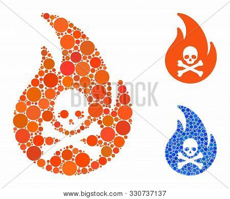 Hell Fire Composition Of Round Dots In Variable Sizes And Color Hues, Based On Hell Fire Icon. Vecto