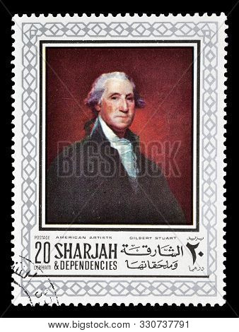 Cancelled Postage Stamp Printed By Sharjah, That Shows Painting By Gilbert Stuart, Circa 1968.