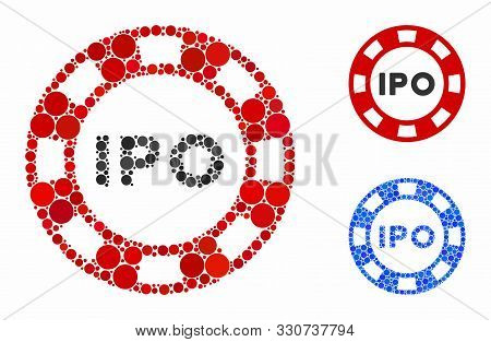 Ipo Token Composition Of Spheric Dots In Variable Sizes And Color Tints, Based On Ipo Token Icon. Ve