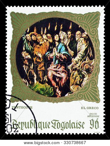 Cancelled Postage Stamp Printed By Togo, That Shows Painting Pentecost By El Greco, Circa 1969.