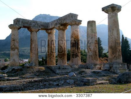 The Temple Of Apollo In Ancient Corinth