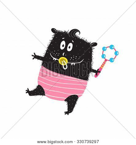 Cute Monster Toddler Kid Character With Dummy, Rattle And Nappy, Walking Happy.