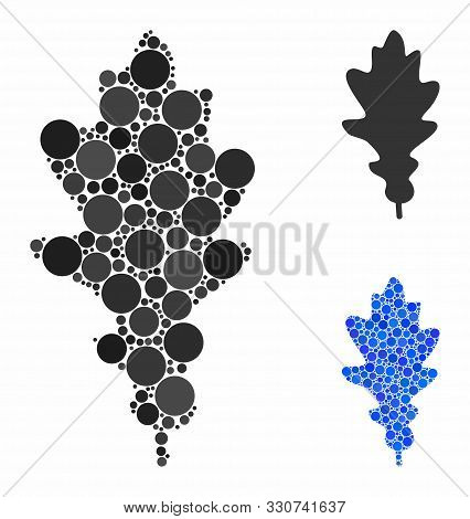 Oak Leaf Mosaic Of Circle Elements In Various Sizes And Shades, Based On Oak Leaf Icon. Vector Circl