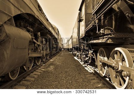 Between Cars Of Old Trains, Between Two Old Trains, Black And White Vintage Photo Of Trains