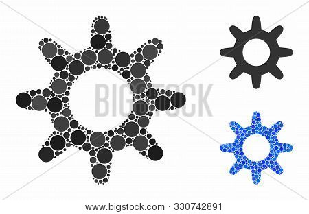 Pinion Mosaic Of Round Dots In Different Sizes And Color Hues, Based On Pinion Icon. Vector Dots Are