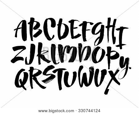 Vector Acrylic Brush Style Hand Drawn Alphabet Font. Calligraphy Alphabet On A White Background