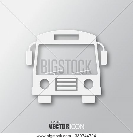 Bus Icon In White Style With Shadow Isolated On Grey Background.