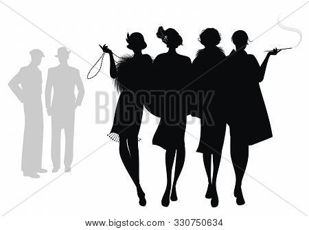 Silhouettes Of Four Flapper Girls Walking Together And Two Men In The Background. Isolated On White