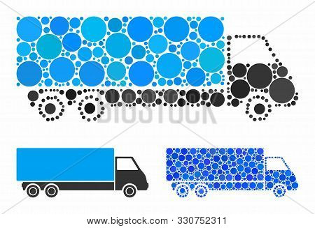 Wagon Composition Of Circle Elements In Different Sizes And Color Hues, Based On Wagon Icon. Vector