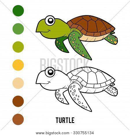 Coloring Book For Children, Cartoon Animal - Turtle