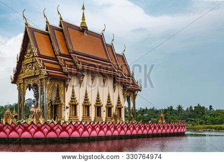 Ko Samui Island, Thailand - March 18, 2019: Wat Laem Suwannaram Chinese Buddhist Temple. Wat Plai La
