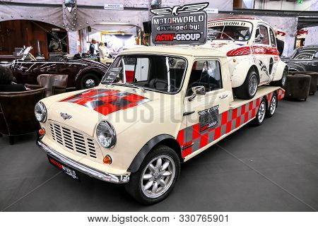 Frankfurt Am Main, Germany - September 17, 2019: Vintage Racecar Carrier Austin Mini Cooper At The F