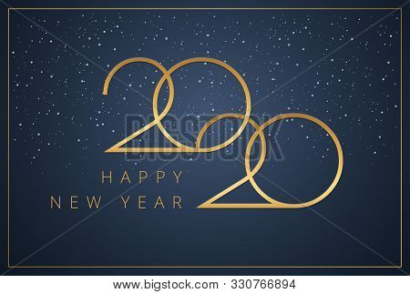 Happy New Year 2020 Logo Text Design. New Year Minimal Graphic For Company Greeting Card, Save The D