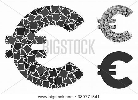 Euro Mosaic Of Abrupt Parts In Various Sizes And Color Tints, Based On Euro Icon. Vector Abrupt Piec