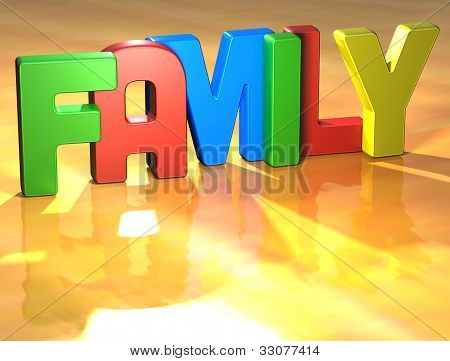 Word Family On Yellow Background