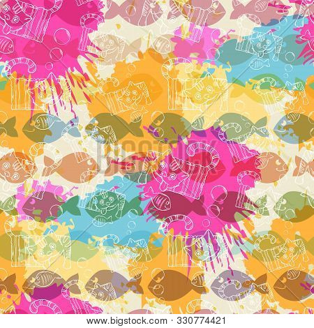 Seamless Pattern On The Background Of Colorful Blots Inks.a Series Of Strange Animals.crazy Cat .suc