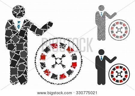 Roulette Croupier Mosaic Of Ragged Parts In Various Sizes And Color Tones, Based On Roulette Croupie