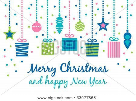 Merry Christmas Greeting Card With Cute Various Gift Presents, Christmas Balls And Stars Hang On Rib