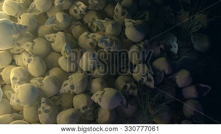 Pile Of Skulls At Night With Dramatic Lighting Horrors Background 3d Illustration Halloween Murder D