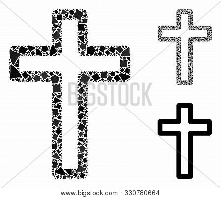 Tomb Cross Composition Of Rugged Parts In Different Sizes And Color Hues, Based On Tomb Cross Icon.