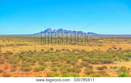 Uluru, Northern Territory, Australia - Aug 23, 2019: Mount Olga Rock Formation In Uluru-kata Tjuta N