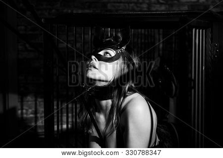Bdsm A Woman In A Leather Cat Mask On A Leash In An Iron Cage Obeys Her Lover. Role-playing Games Fo