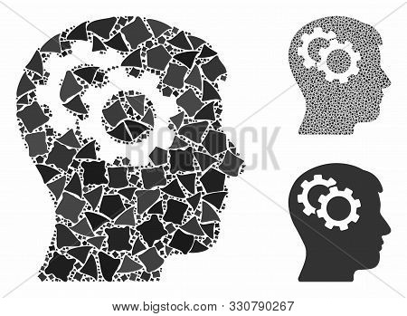 Intellect Gears Mosaic Of Unequal Parts In Different Sizes And Color Tints, Based On Intellect Gears