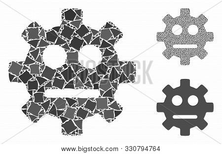 Gear Pity Smiley Composition Of Uneven Parts In Variable Sizes And Color Tones, Based On Gear Pity S
