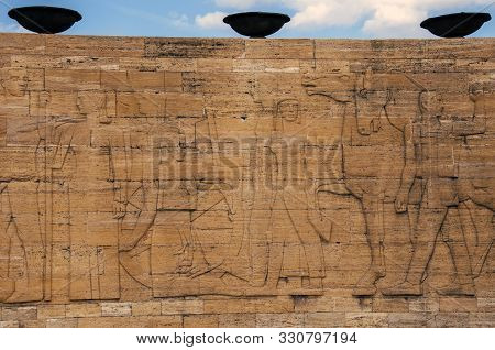 Detail From The Reliefs On The Outer Walls Of Anitkabir, The Mausoleum Of Mustafa Kemal Ataturk, Fou