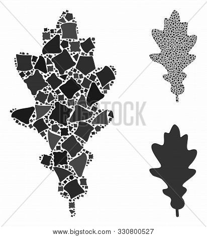 Oak Leaf Composition Of Unequal Parts In Various Sizes And Color Tinges, Based On Oak Leaf Icon. Vec