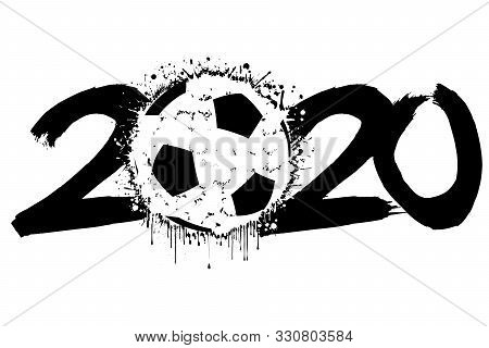 Abstract Numbers 2020 And A Soccer Ball From Blots. 2020 New Year On An Isolated White Background. D