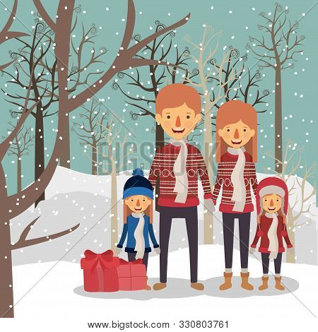 Family Members Celebrating Christmas In The Snowscape Vector Illustration Design