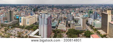 NAIROBI, KENYA-JUNE 15, 2019: The city of Nairobi, Kenya is seen in this low aerial panorama of the downtown area.