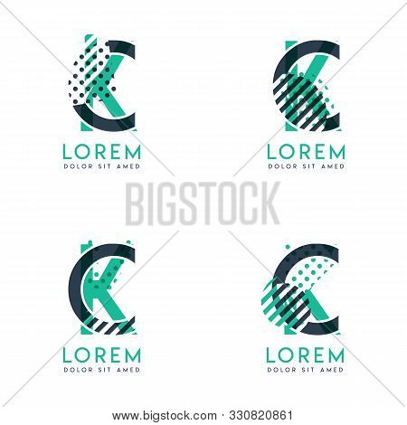 Four Abstract Ck Logo Posts Set With Dot And Slash, Green And Black. Very Suitable For Corporate Ide