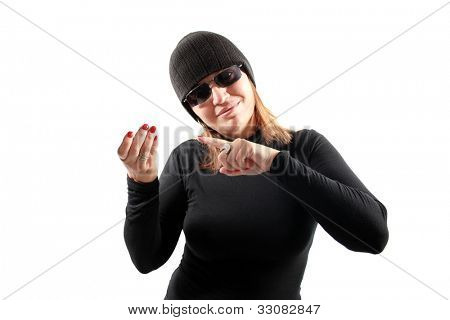 Thief holding isolated on white background