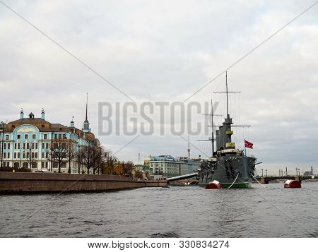 Saint Petersburg, Russia - October 24, 2019: Aurora Cruiser, The Battleship Sparkled Great October C