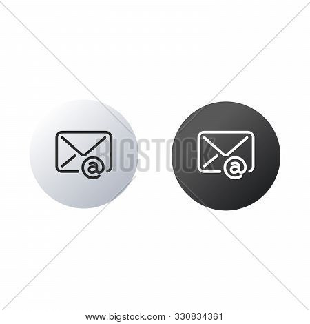 Email Or Postal Envelope Circle Button. Stock Vector Illustration Isolated On White Background.