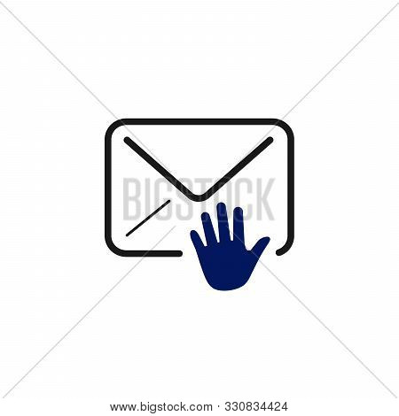 E-mail Envelope With Hand, Mail Deliver Or Sort. Stock Vector Illustration Isolated On White Backgro