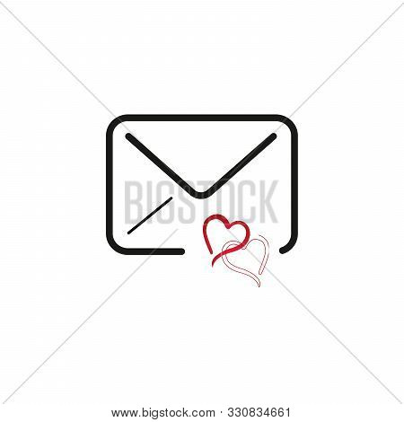 Love Favorite Email. Envelope With Heart, Valentines Message. Stock Vector Illustration Isolated On